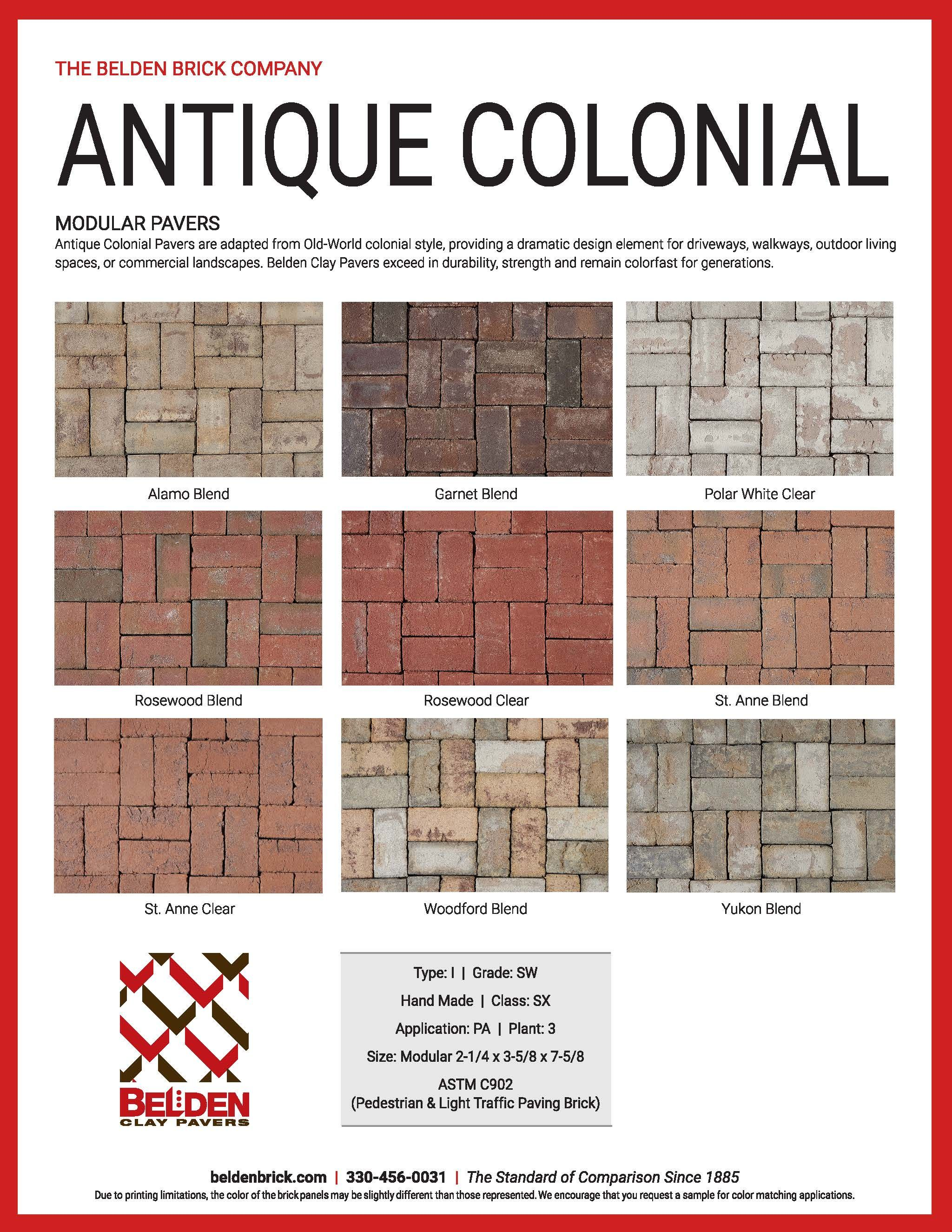 Antique Colonial Clay Pavers